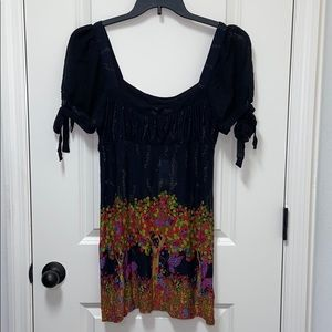 Free People Black Comb top shirt size Large